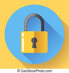 Vector lock icon with long shadow. Flat design style.