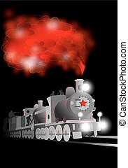 Vector locomotive with soldier and red star. Communistic illustration