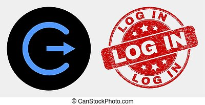 Vector Log Out Icon and Grunge Log In Watermark