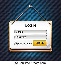 Vector Wooden Login Form Hanging on a String