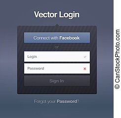 web page login password security screen. vector illustration