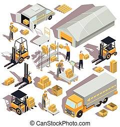 Vector logistic and delivery isometric icons