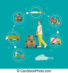 Vector Logistics delivery, transportation, warehouse concept infographic items, flat style