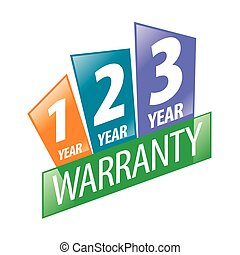 vector logo 1, 2, 3 year guarantee