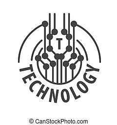 vector logo abstract chip technology
