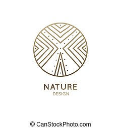 Vector logo abstract tree. Simple geometric logotype of tree or mountains. Linear round emblem for design of natural products, organic shop, flower shop, cosmetics, ecology, health, spa, yoga Center