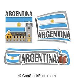 Vector logo Argentina,3 isolated illustrations: Bariloche on...
