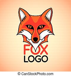Vector logo, badge, sign template with red fox face.