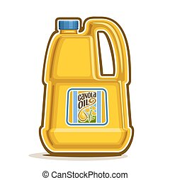 Vector logo big yellow plastic Bottle with Canola Oil and label, gallon canister pure cooking colza oil, large container with organic rapeseed liquid with cap and handle, closeup isolated on white.