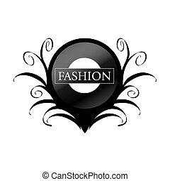 vector logo black circle with patterns