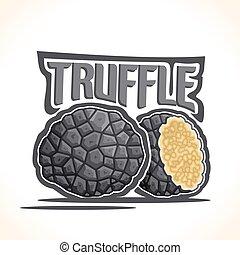 Vector logo Black Truffle Mushrooms: cut half burgundy...