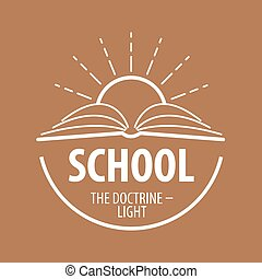 vector logo book and sun with rays