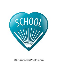 vector logo book in blue heart