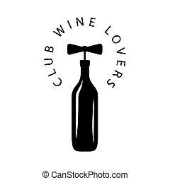 vector logo bottle of wine with corkscrew