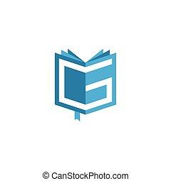 vector, logo, brief g, boek, aanvankelijk