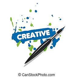 vector logo brush and blue and green spray paint