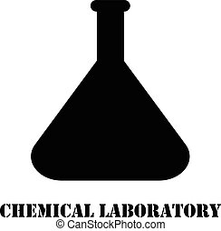 Vector logo chemical laboratory flask