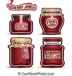 Cherry Jam in glass Jars - Vector logo Cherry Jam in glass...