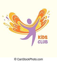 Vector logo child club, development center on white background.