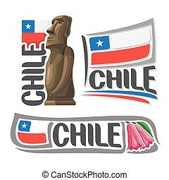Vector logo Chile, 3 isolated illustrations: Moai stone...