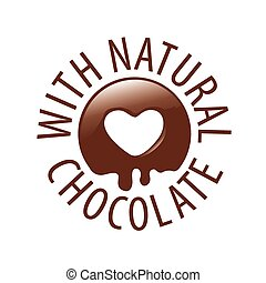 vector logo chocolate in a heart shape for labels