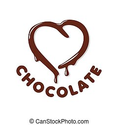 vector logo chocolate in a heart shape