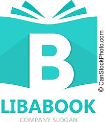 Vector logo combination of a book and letter b