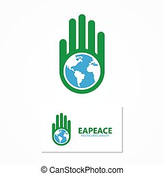 Vector logo combination of a hand and earth.
