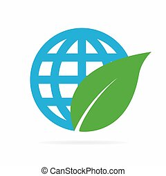 Vector logo combination of a leaf and globe