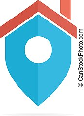 Vector logo combination of a place point and house