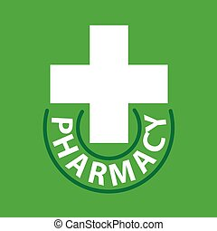 vector logo cross for pharmacy on a green background