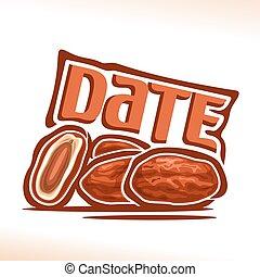 Vector logo Date Fruit: still life of heap dried dates, cut...
