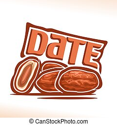 Vector logo Date Fruit: still life of heap dried dates, cut...