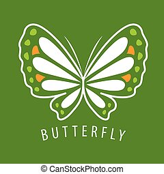 vector logo delicate butterfly on a green background