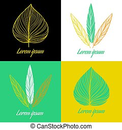 Vector logo design element set. Feather and leaf.