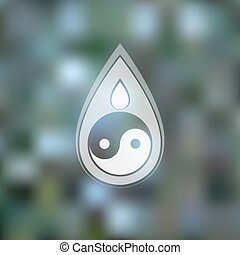 Vector logo design template. Abstract blue water drop with yin yang symbol on blured background. Business, technology, nature, ecology sign.
