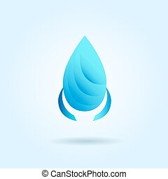 Vector logo design template. Abstract blue water drop, wave and egg shape. Business, technology, nature, ecology, medicine and health symbol