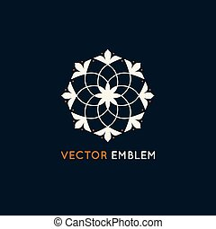 Vector logo design template and emblem made with leaves and...