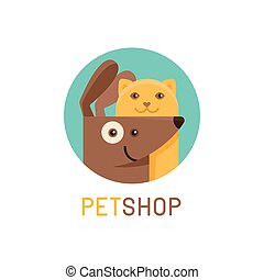 Vector logo design template for pet shops, veterinary clinics and homeless animals shelters - cat and dog- friendly pets - badge for websites and prints