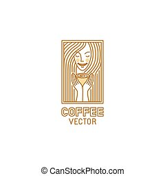 Vector logo design template in trendy linear style for...