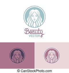 Vector logo design template in trendy linear style with ...