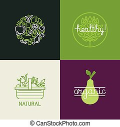 Vector logo design template with fruit and vegetable icons...