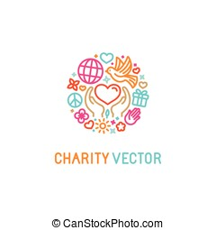 Vector logo design template with icons in trendy linear style