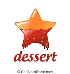 vector logo dessert in the form of a star with chocolat