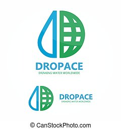 Vector logo earth globe with drop of water