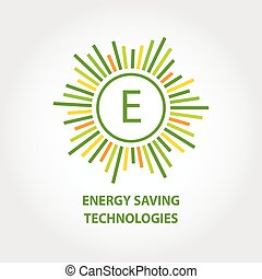 Vector logo, energy efficiency, eco energy, sun energy. A set of