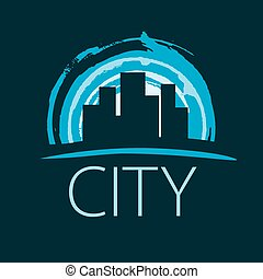 vector logo evening city at sunset