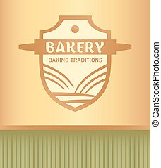Vector logo for a bakery with a picture of a rolling pin, wheat field and sun