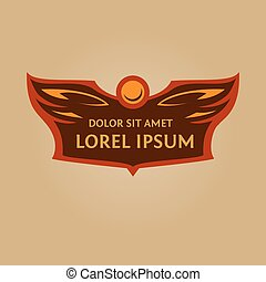 Vector logo for a sports team.Heraldic logo with wings and...