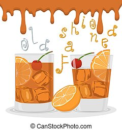 Vector logo for alcohol cocktails old fashioned